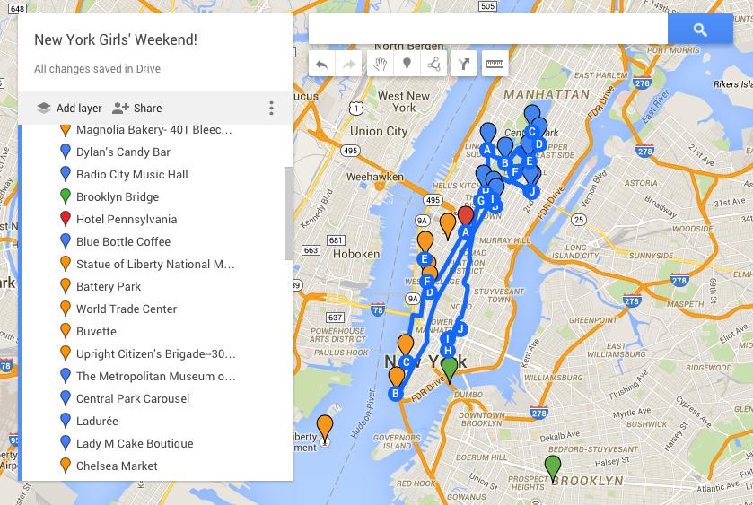 GoogleMaps New York City Girls' Weekend